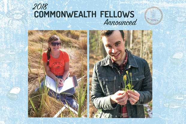 2018 Commonwealth Fellows Announced. Lauren Pudvah shown on the left, Benjamin Nettleton shown on the right.  A faded seal of the Commonwealth of Virginia is seen in the upper right.