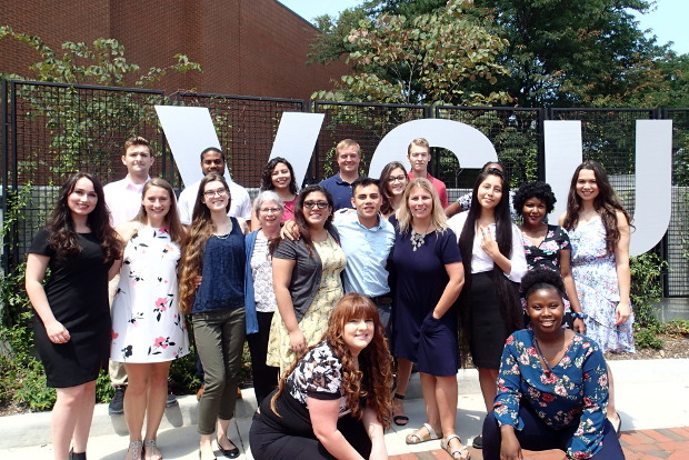 Students in the 2018 cohort of VCU Bridges to Baccalaureate: Dream to Goal program, with Karen Kester, Ph.D., an associate professor in the Department of Biology in the College of Humanities and Sciences, and Sarah Golding, Ph.D., assistant professor and director of undergraduate research in the Department of Biology. (Courtesy photo)