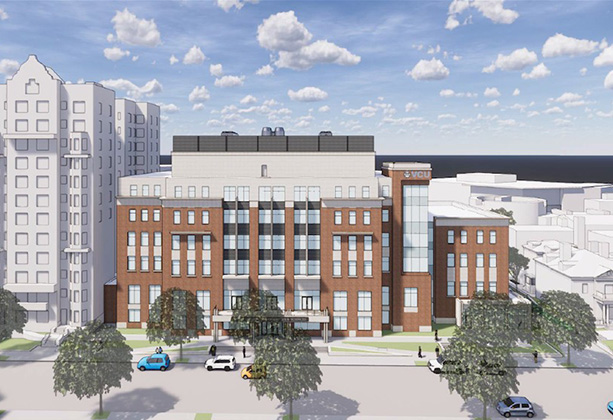 A conceptual rendering of six story building situated on the west side of Johnson Hall. Credit: Ballinger/Quinn Evans Architects.