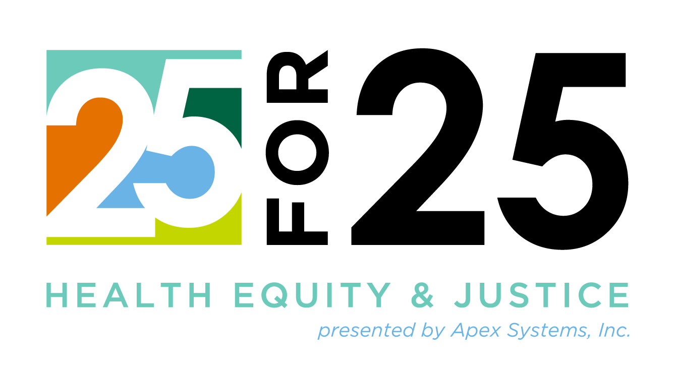 Logo for the 25 for 25 Health Equity and Justice Campaign.