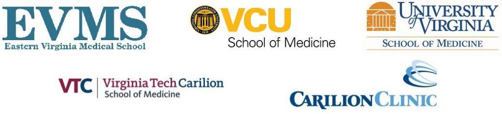Logo image with Eastern Virginia Medical School, VCU School of Medicine, UVA School of Medicine, and VT Carilion School of Medicine.